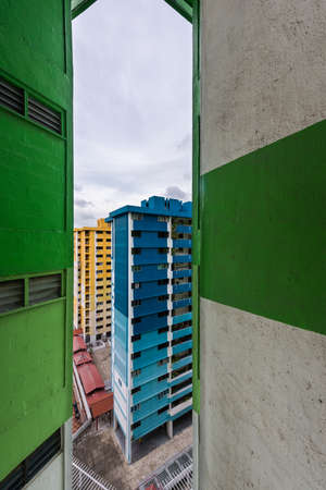 local landmark: Singapore, 02 Feb 2016: Famous local landmark Rochor Centre set to be demolished in 2016. Rochor Centre was built in 1977 and is a commercial and residential estate. Over the years, the colourful blocks of green, blue, red and yellow have become iconic st