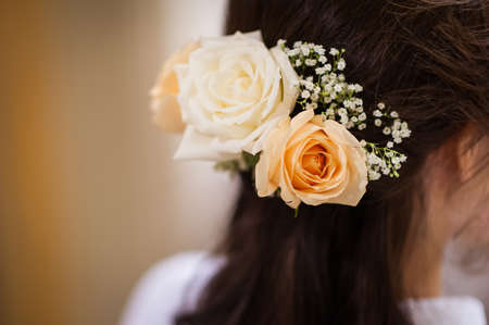 part of me: Pretty flowers placed in brides hair as decoration as part of her hairdo on her wedding day.   The flowers and shoes looked so pretty and the colours (I love pastel colours!) were simply a perfect combination to the stunning dress. The hair flowers, bouq