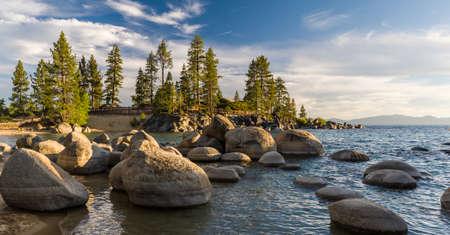 tahoe: Sunset at Sand Harbour at Lake Tahoe. Stock Photo
