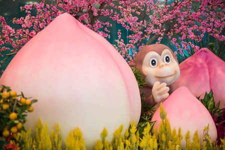 signify: Singapore, 11 Feb 2016: Monkey mascot with prosperity peach to signify good luck and longevity in Chinese culture and customs. Stock Photo