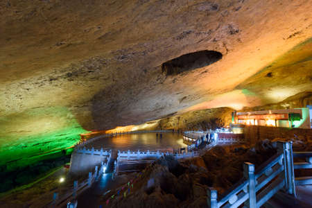 Yunnan, China - 27 March 2016: Underground huge cave system at Jiuxiang scenic area. Also the main setting for Jackie Chans movie The Myth.