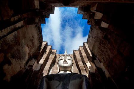 ajana: SUKHOTHAI, THAILAND - MAY 30  Phra Ajana, the sitting Buddha Image inside the Mandapa at Wat Si Chum on May 30, 2010, Sukhothai, Thailand