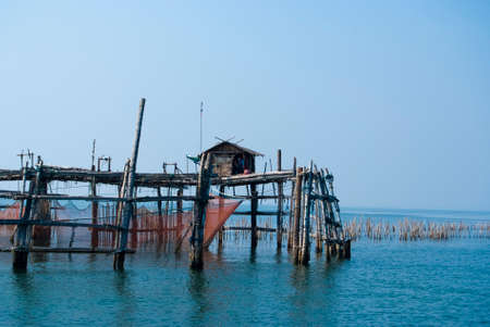 fishery products: Trap net stake trap at the mouth of the Mae Klong river to the Gulf of Thailand in Samutsongkram