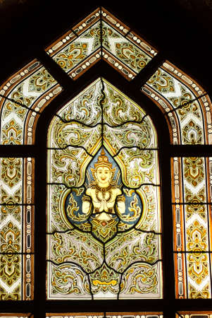 Thai stained glass window at Benjamabophit Temple, Bangkok