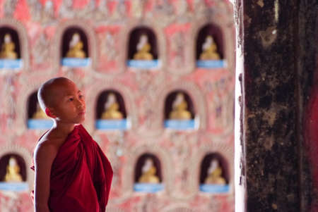 compulsory: NYAUNG SHWE, MYANMAR – FEB 16  Novice at Shwe Yan Phe Monastery on Feb 16, 2011 in Nyaung Shwe, Myanmar  It is compulsory that boys between 8-20 years old have to enter the Buddhist Order for a week or more as a novice  Editorial