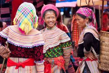 ha: BAC HA MARKET, VIETNAM - JULY 5: Hmong women at Bac Ha market on July 5, 2009 in Lao Cai, Vietnam. Bac Ha is hilltribe market where hilltribe people come to trade for goods