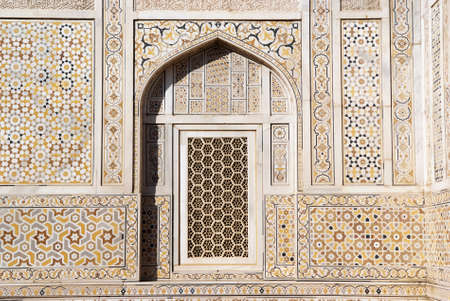 inlays: Detais of the outer wall of  Itimad-ud-Daulah tomb or little Taj Mahal, Agra