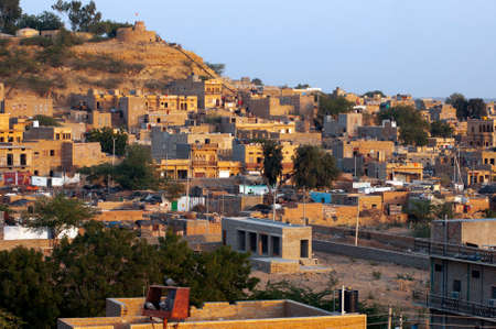 thar: Cluster of houses made of yellow sand stone in Jaisalmer Stock Photo