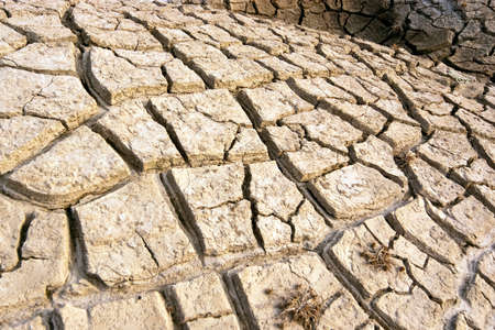 barrenness: cracked and dry land due to drought Stock Photo