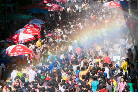 cool off: BANGKOK, THAILAND - APR 15:  Revelers during Songkran Festival on Apr 15, 2012 in Bangkok, Thailand.  The water festival has long been observed as New Year and the occasion for people to cool off.