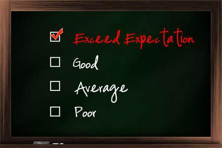 tickbox: Customer satisfaction survey tickbox listed on the blackboard Stock Photo