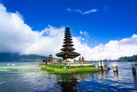 natural landmark: Pura Ulun Danu Bratan is a major water temple on Lake Bratan, Bali, Indonesia Stock Photo