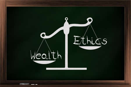 trait: Scale of choices between ethics and wealth on a blackboard