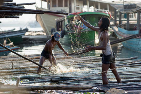 shafts: MANDALAY, MYANMAR - MAR 6:  bamboo shafts being loaded into a truck to be sold off as construction and manufacturing material on Mar 6, 2015 in Mandalay, Myanmar.