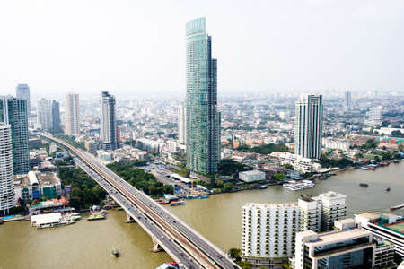 institutions: Overview of one of the most important financial districts with bank headquarters, financial institutions and office buildings in Bangkok Editorial