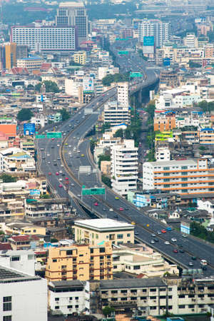 tollway: Overview of tollway running through the busy town of Bangkok