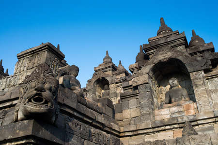 niches: Buddha niches and gargoyle around Borobudurs lower levels