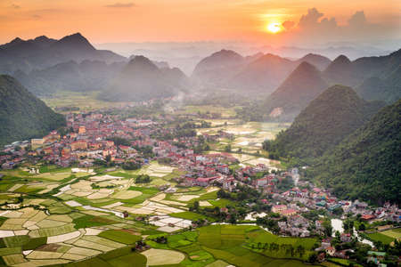 Sunset over the Bacson Valley in Vietnam