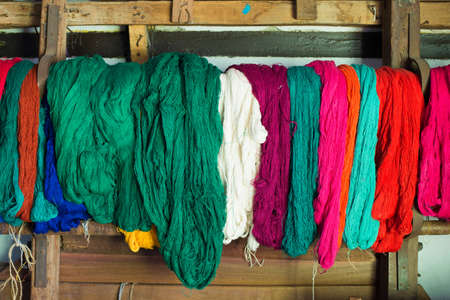 conservative: Colored weaving and knitting yarns Stock Photo