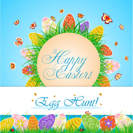 easter egg hunt: Happy easter Egg hunt card with eggs and butterflies