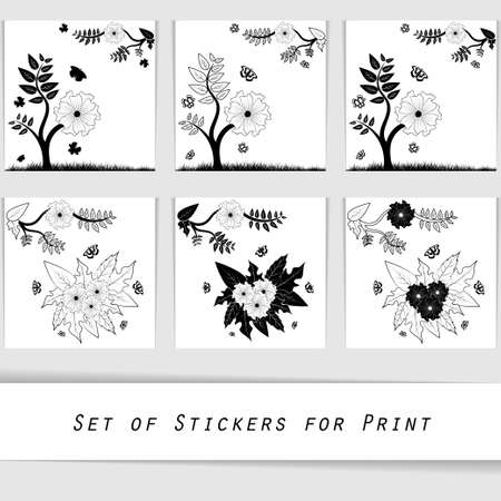 printshop: flower silhouette decorative elements for printing wall stickers, paper stickers or can be used in printshop.