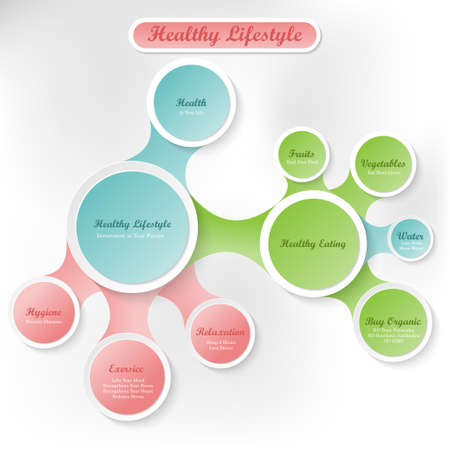exersice: Healthy body and lifestyle concept infographics with circles and shadows