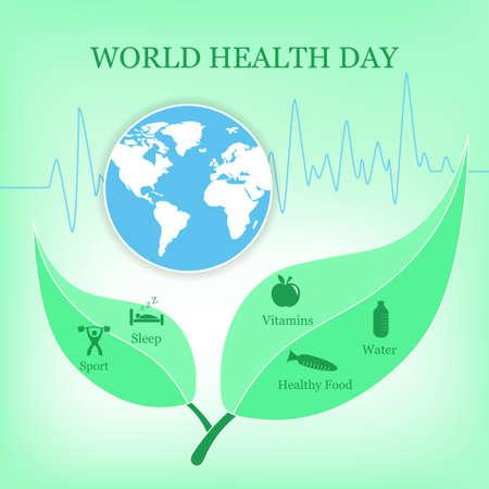 삽화. 흰색, 파란색, 녹색 색상의 세계 건강의 날 포스터. 지구.