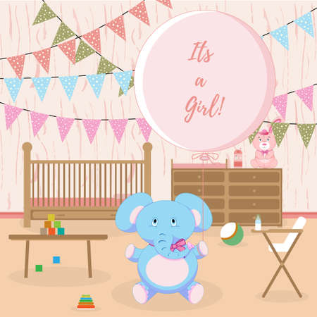 it's: Girl Baby shower card, Its a girl