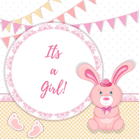 baby announcement card: pink baby announcement card, vector illustration its a girl Illustration