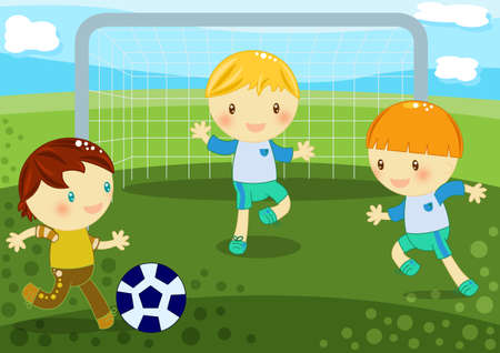 cute little boys playing soccer on the grass Stock Photo - 9767414