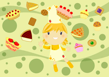 little chef surrounded by cakes on abstract background Stock Photo - 9767413
