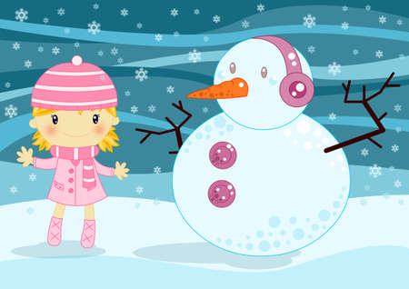 Christams card little girl and snowman photo