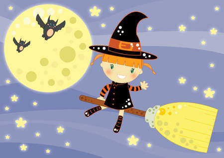 Vliegende heks Halloween-kaart Stockfoto