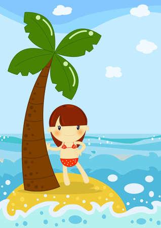 enfant maillot de bain: île fille Banque d'images
