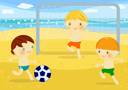 baby playing toy: beach soccer Stock Photo