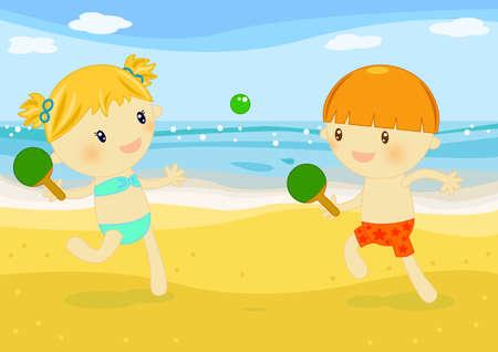 enfant maillot de bain: tennis de plage