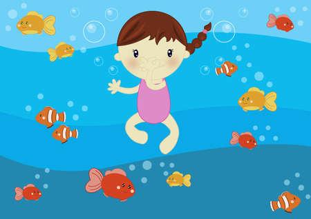 enfant maillot de bain: Natation sous-marine
