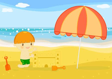 enfant maillot de bain: Ch�teau de sable
