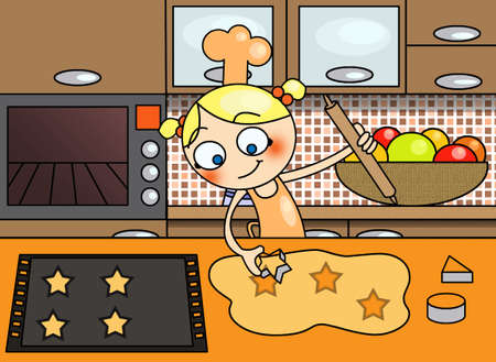 cooking little girl photo