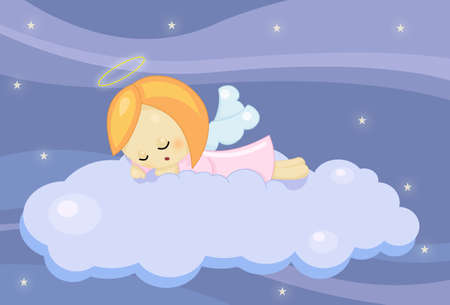 cute sleeping angel girl photo