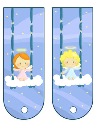 cute little angels labels card photo