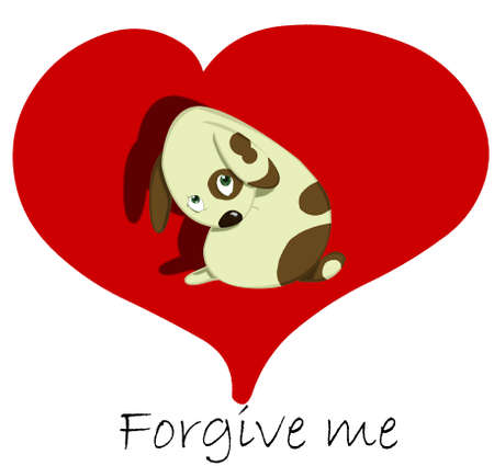 sad dog forgive me card photo