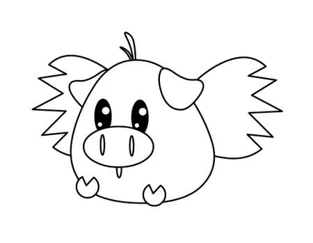 black and white flying pig photo