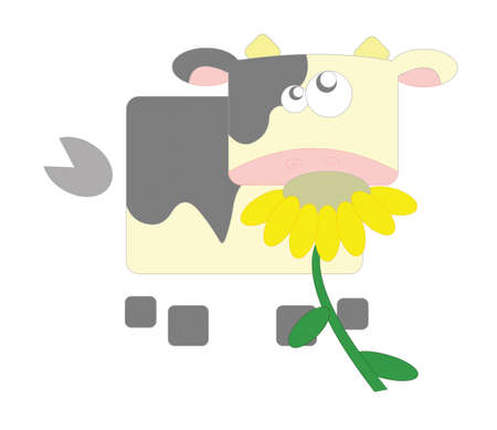 cow with flower photo