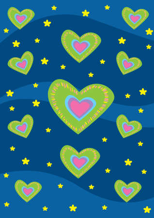 blue and green hearts photo