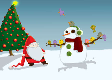 Christmas Sanata Claus and snowman photo
