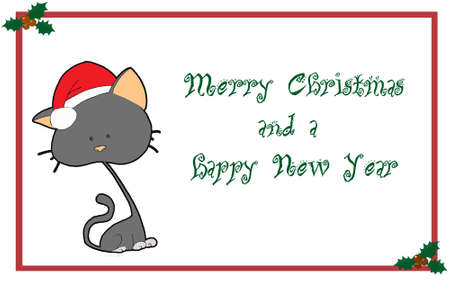 Christmas card with stylezed cat photo