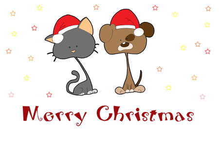 Christmas card with cute cat and dog