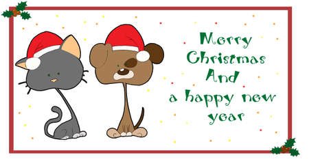 Christmas card with cute pets photo