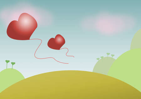 landscape with hearts Stock Photo - 13773303